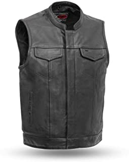 First Mfg Co Men's Leather Motorcycle Vest (Black, 4X-Large)