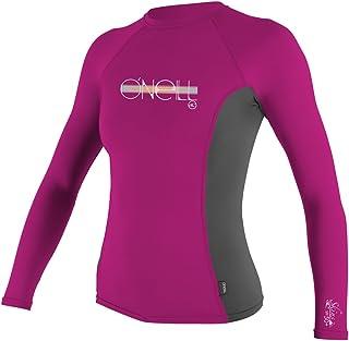 O'Neill Girls Premium Skins UPF 50+ Long Sleeve Rash Guard, Berry/Graphite/Berry, 4