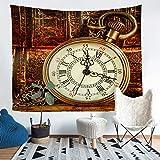 orologio da tasca da parete coperta vintage orologio arazzo per bambini ragazzi ragazzi ragazzi occidentali cowboy arazzi appeso alla parete vecchio design orologio coperta coperta xlarge 69x91