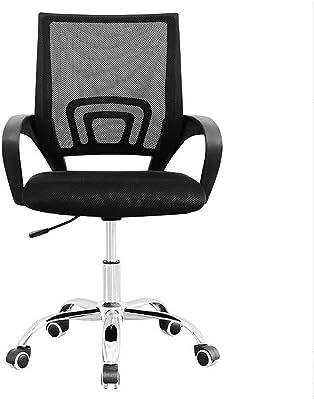 DALIBAI Cadeira de escritório para móveis modernos, ergonomia, tecido de malha respirável, assento giratório, preto (cor: preta)