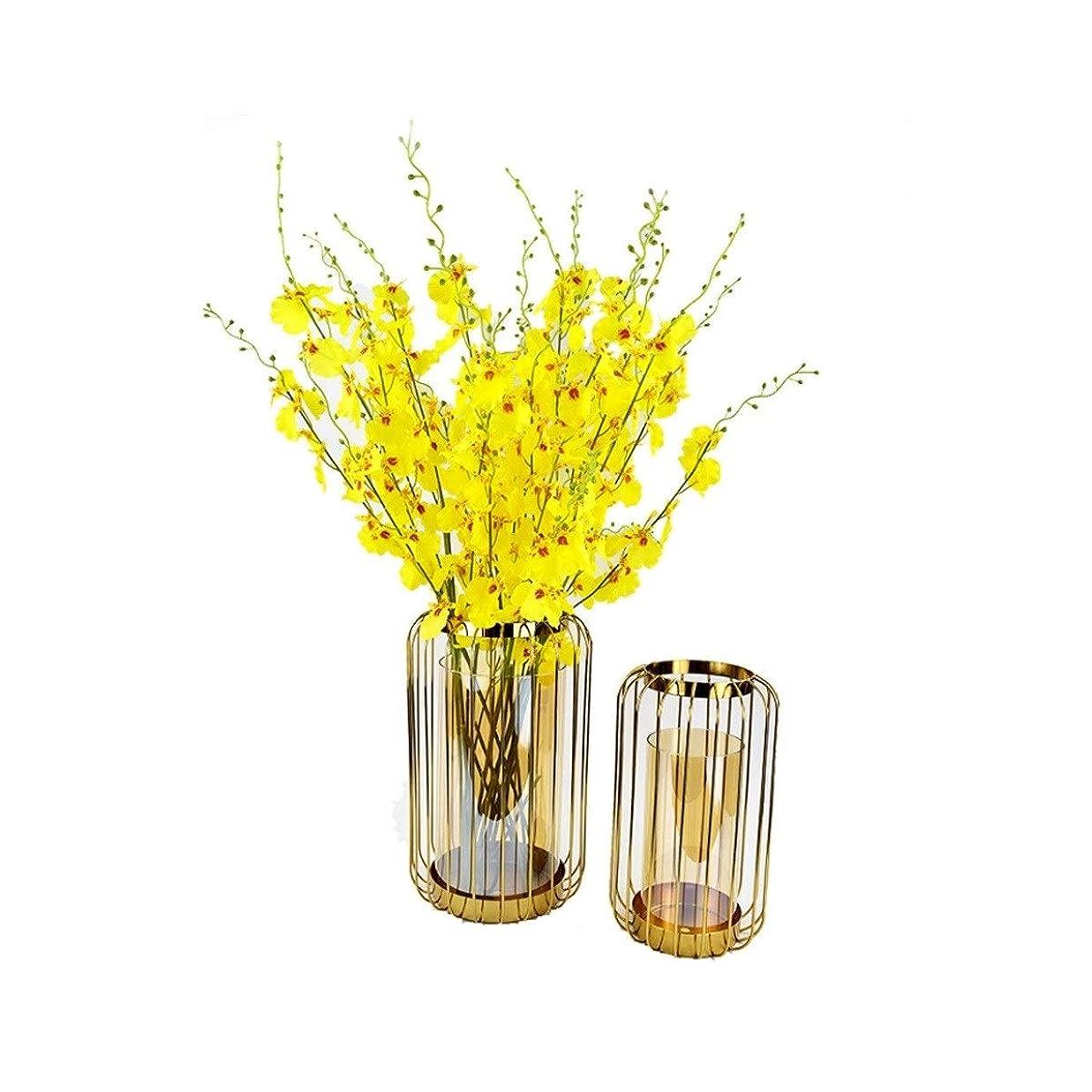 お祝い支給錫XMSM 金属クリエイティブ花瓶、シンプルな錬鉄ガラスの花瓶、北欧ホームデコレーションオーナメント (Color : A)