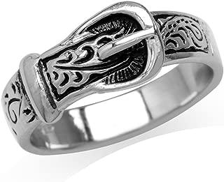 925 Sterling Silver Belt Buckle Ring