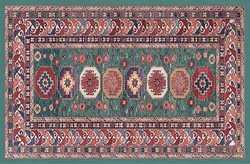 HomeLife Persian Tapijt, Oosters, wasmat voor woonkamer, slaapkamer, woonkamer, met anti-slip vloer, digitale druk, oosterse kleur groen