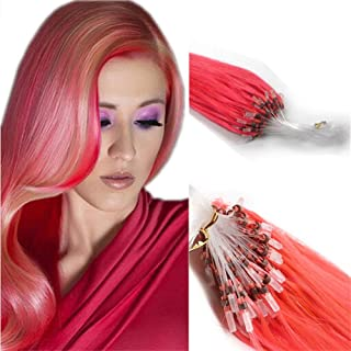 Yotty 100 Strands Bead Loop Micro Rings Real Human Hair Extensions Straight 16Inch 40g (#Pink)