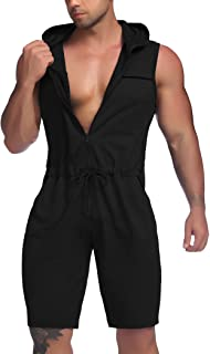COOFANDY Men's Hooded Sportswear Gym Workout Casual Sleeveless Muscle Top and Shorts Zipper Jumpsuit with Pockets