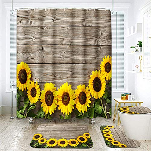 ArtSocket 4 Pcs Shower Curtain Set Autumn Sunflowers Wooden Board Wood Garden Border Abstract Beauty Bloom Blossom Bright with Non-Slip Rugs Toilet Lid Cover and Bath Mat Bathroom Decor Set 72' x 72'