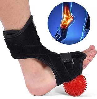 Plantar Fasciitis Night Splint, Drop Foot Orthotic Brace with Hard Spiky Massage Ball for Effective Relief from TAchilles Tendonitis, Heel Pain, Plantar Fascia, Drop Foot Bendable Aluminum Strip