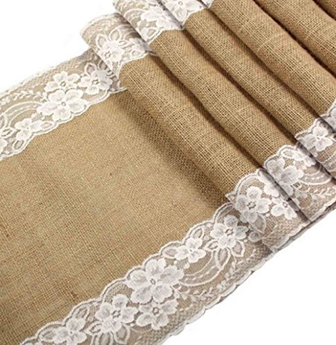 Jolly Jon Burlap Table Runner with White Lace - Wedding Reception Vintage Rustic Decor  12