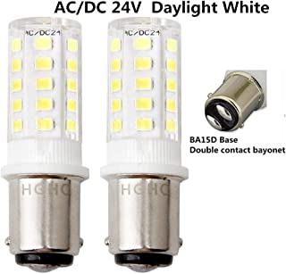 LED Ba15d 24V AC/DC 5W Daylight 6000K Double Contact Bayonet Bulb 1157 1076 1130 1176 1142 LED 35W Replacement Bulb for Car RV Camper Lighting(Pack of 2)