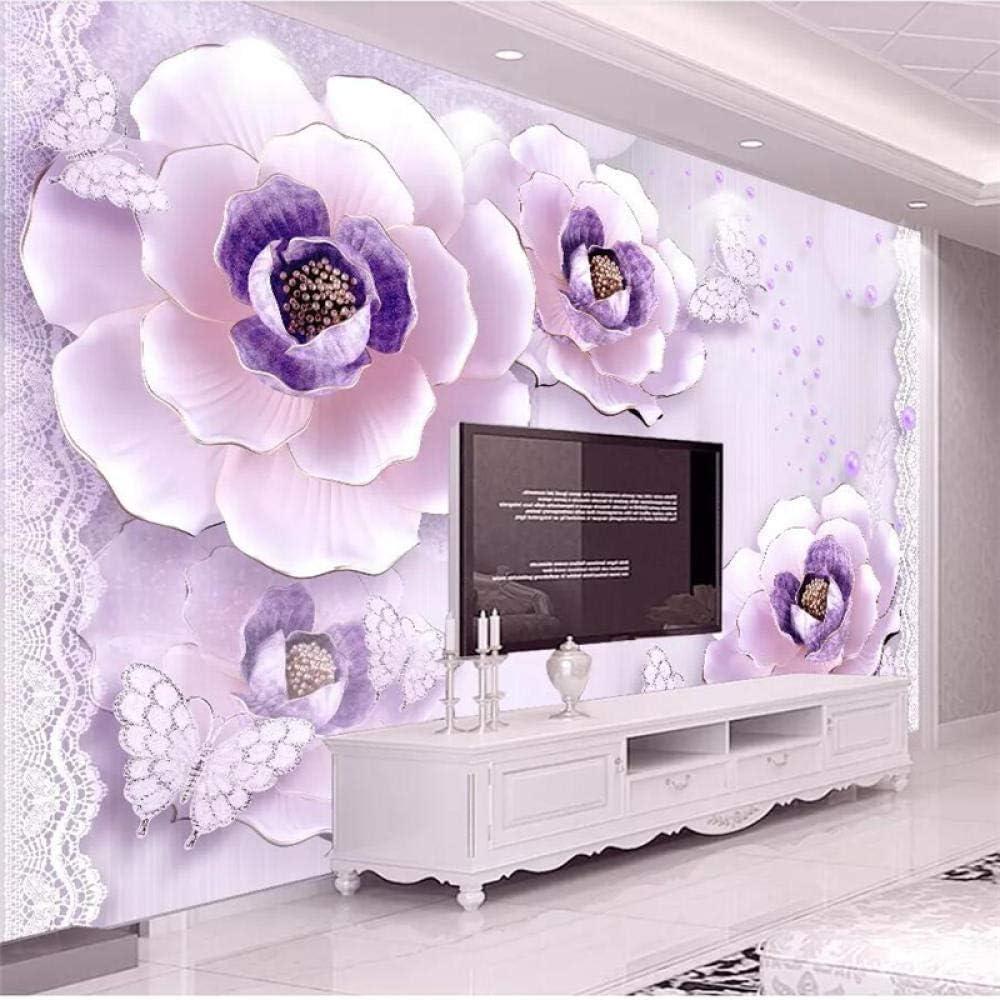 Custom Wallpaper 3D Photo Murals Limited price sale Purple Relief Romantic Stereo P Max 74% OFF