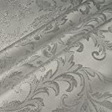 Stoff Polyester Jacquard Ornament weiß silber Lurex