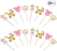 Suppar Pink and Gold Girl Baby Shower Cupcake Toppers , Gender Reveal Cupcake Toppers Decoration Baby Shower Party Supplies