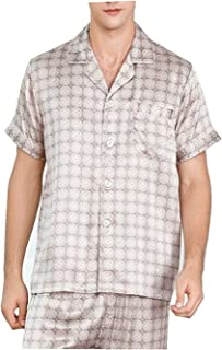 Living Room Accessories Sleepwear Silk Pajamas Men Suit Short-Sleeved Two-Piece Sleepwear Summer Spring Bottoms Solid Colo...