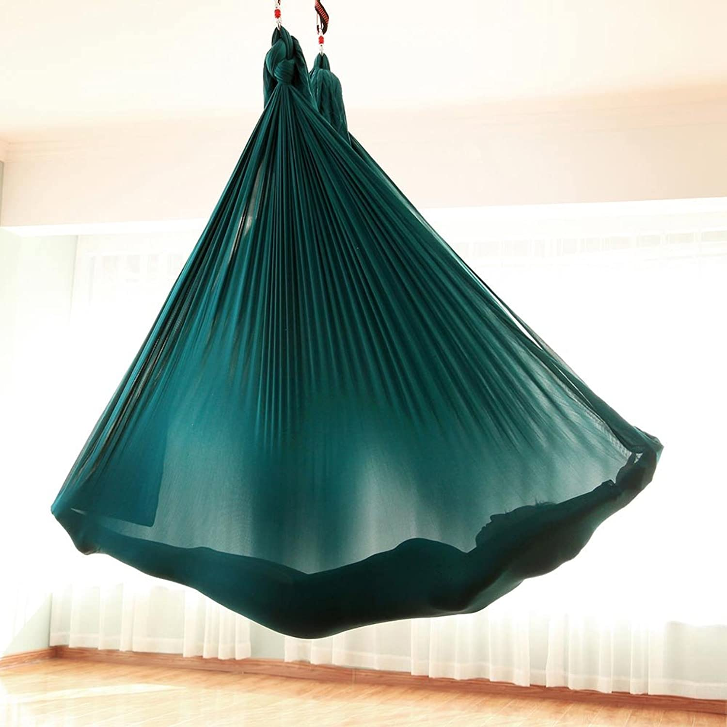 (Dark Green)  Tofern Flying Yoga Hammock Swing Trapeze 5.5 Yards Aerial Yoga Silk Sling AntiGravity Inversion Exercise Ultra Strong Durable for Home Indoor Outdoor