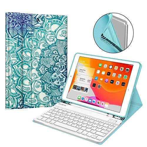 Fintie Tastatur Hülle für iPad 10.2 Zoll 7. Generation 2019, Soft TPU Rückseite Gehäuse Schutzhülle mit Pencil Halter, magnetisch Abnehmbarer Bluetooth Tastatur mit QWERTZ Layout, smaragdblau