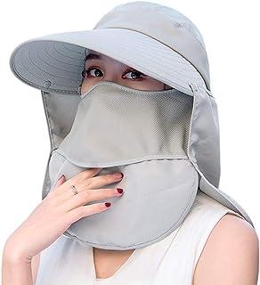 Sombrero de pesca plegable para mujer, ala ancha, protección UV, con solapas desmontables