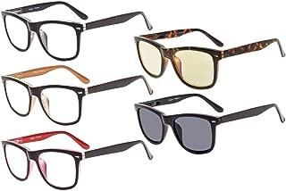 Eyekepper 5-pack Readers Square Large Lenses Spring-Hinges Reading Glasses Include Computer Glasses Men Women +0.75