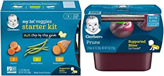 Sponsored Ad - Gerber Purees My 1st Vegetables, Box of 6 2 Ounce Tubs (Pack of 2) & Purees 1st Foods Prune Baby Food Tubs,...