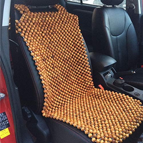 HomDSim Wood Beaded Auto Car Bead Seat Cover,Natural Wooden Bead Cool Refreshing Back Massaging Comfort Cushion Mat,Premium Quality Universal for Car Truck on Summer