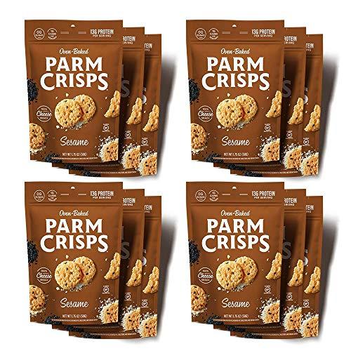 ParmCrisps Sesame Parmesan Cheese Crisps, 1.75 oz (Pack of 12), Keto Gluten Free Snacks, 100% Cheese Crisps, Gluten Free, Sugar Free, Low Carb, High Protein, Keto-Friendly