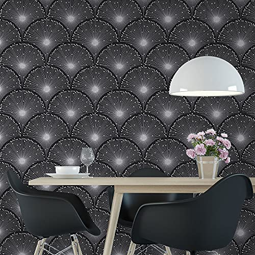 QIMAY 17.3'X236' Black Wallpaper Peel and Stick Silver Glitter Geometric Contact Paper Removable Self Adhesive Wallpaper Embossed Scallop Design Home Decor Cabinets Shelf Drawer Liner Vinyl Film