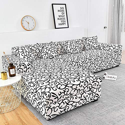WXQY Funda de sofá elástica de algodón Funda de sofá elástica para Sala de Estar Funda de sofá a Prueba de Polvo Completa Funda de Chaise Longue sillón A22 de 4 plazas