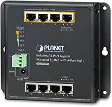 Planet WGS-804HPT Industrial 8-Port 10/100/1000T Wallmount Managed Switch with 4-Port PoE+ (-40~75°C)