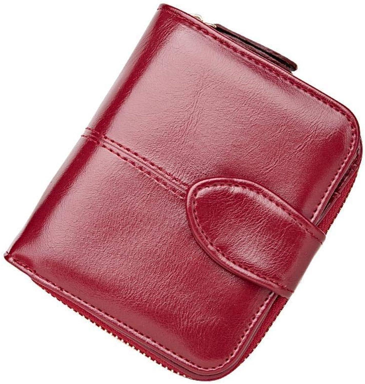 Girls Purse Women's Wallet,Short BI Purse Lady Purse Oil Wax Leather Buckle Wallet (color   B)
