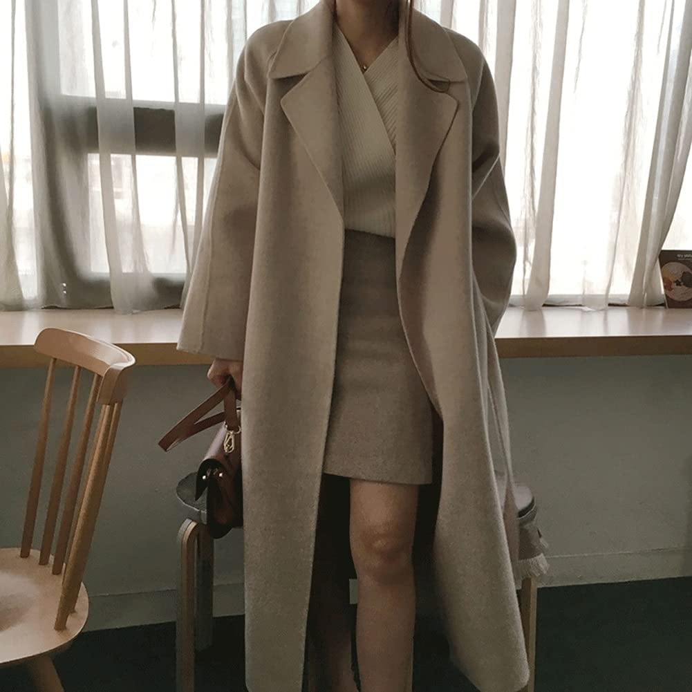 DJASM fzwt Women Elegant Long Wool Coat with Belt Solid Color Long Sleeve Chic Outerwear Autumn Winter (Color : Apricot, Size : One Size)