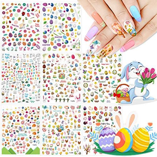 8 Blatt Nail Art Sticker Set, Kalolary Ostern selbstklebende Nagelsticker mit Ostern Theme für Frauen, Mädchen, Kinder, perfekt für DIY Nagelstudio