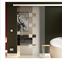 Glazen schuifdeur helder glas Levidor® EasySlide-systeem compleet looprail en stanggrepen 1025 mm Glasbreite inkl. SoftClo...