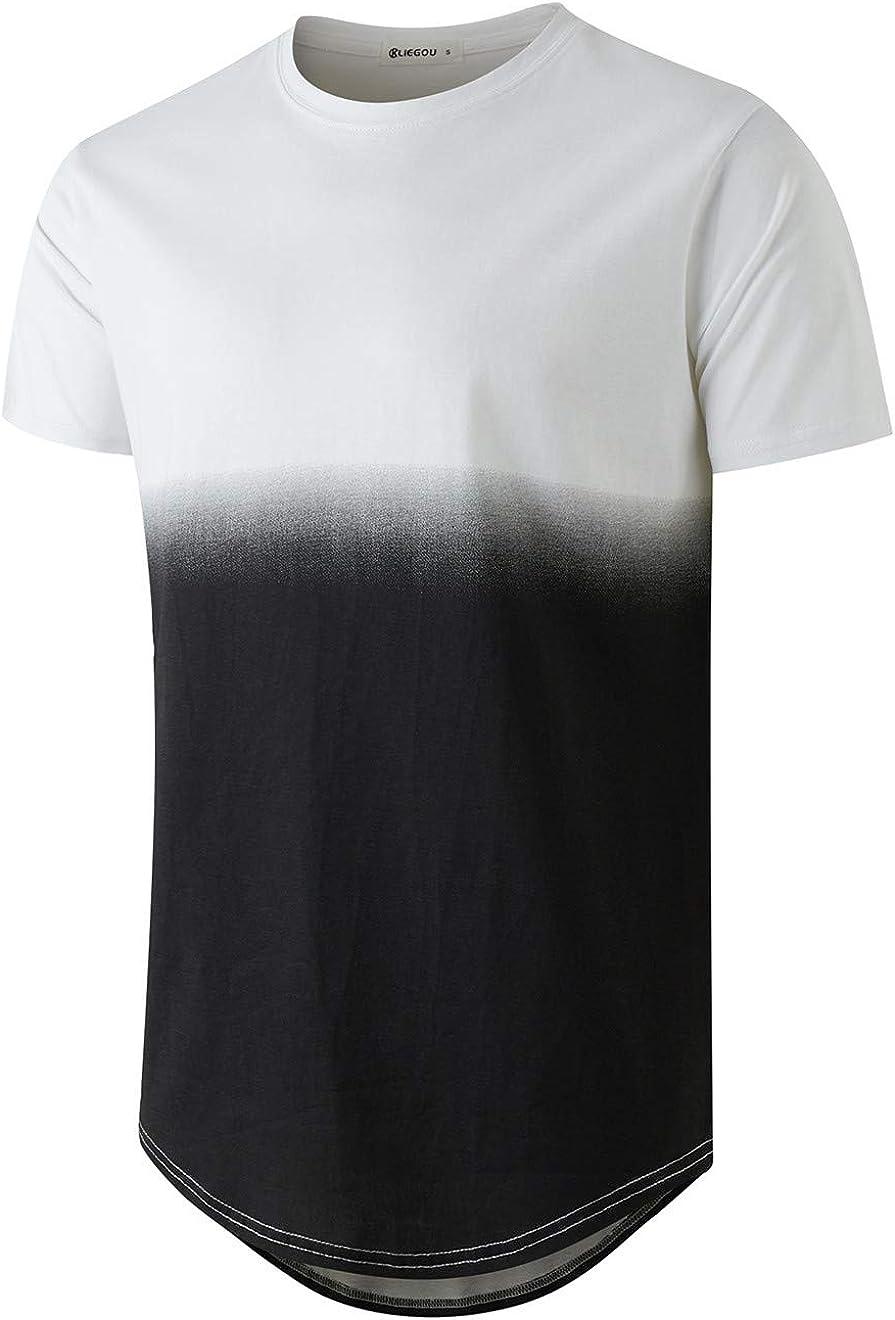 KLIEGOU Men's Fashion Hip Hop Color Block Stripe T-Shirt