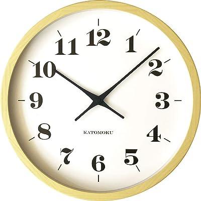 KATOMOKU muku round wall clock 12 イエロー 電波時計 連続秒針ムーブメント km-97YRC φ306mm