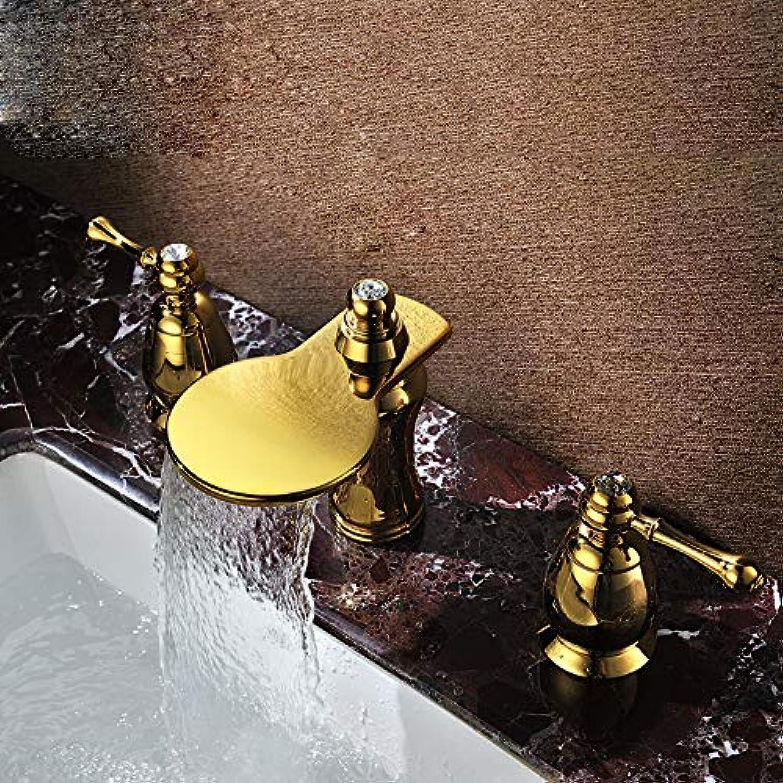 JONTON Wasserfall Badewanne Wasserhahn_3 Stück Set Auenhandel Badewanne Wasserhahn Golden Separation Wasserhahn, Gold