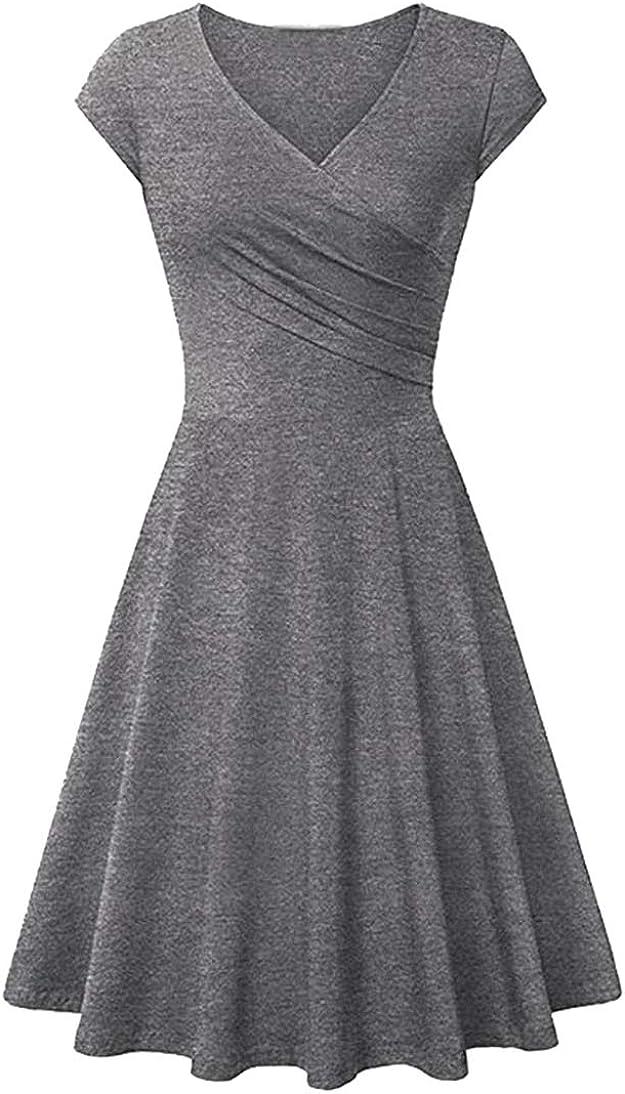 FLITAY Women's Vintage V Neck Cap Sleeve Dress Ruched Bodycon Top Dress Swing Hem Dress