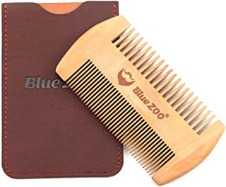 BLUE ZOO Pearwood Double-Sided Portable Beard Combs Beard Shaping Styling Template with Leather bag (Original wood color)