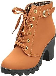 SANFASHION Femme Bottines a Talon Plateforme Bottes à Lacets Cuir Basse 7 CM Hiver Automne Élégant Confortable Chaussures ...