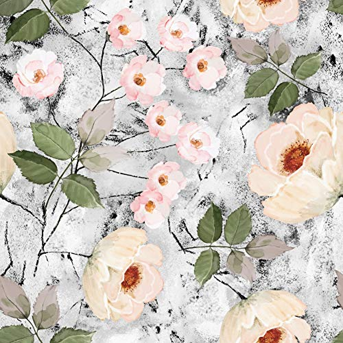 HaokHome 93032 Watercolor Floral Peel and Stick Wallpaper Removable Grey/Black/Pink Vinyl Marble Self Adhesive Shelf Liner 17.7in x 9.8ft