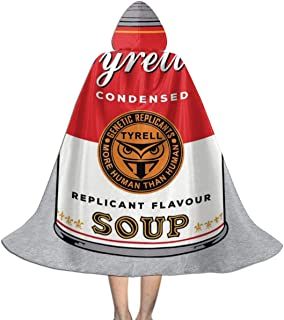 Blade Runner Campbell Soup Warhol Unisex Kids Hooded Cloak Cape Halloween Xmas Party Decoration Role Cosplay Costumes Black