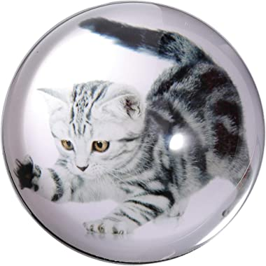 Waltz&F Crystal Shorthair Cat Paperweight Galss Globe Hemisphere Home Office Table Decoration 2.7''