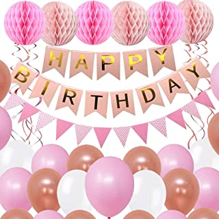 BOSCORD Pink Birthday Decorations for Women, Girls, Mothers, and Girlfriends, with Pink Happy Birthday Banners, Birthday B...