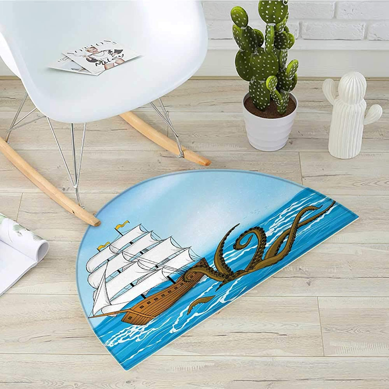 Kraken Semicircle Doormat Old Sailing Ship in Waves and Kraken Adventure Journey Travel Graphic Image Print Halfmoon doormats H 39.3  xD 59  bluee Brown