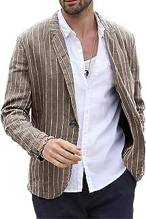 Fueri Men's Striped Blazer Linen Cotton Jacket Lightweight Suits Slim Fit Casual Jacket Modern Summer Coat