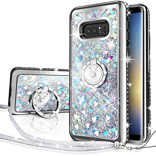Silverback Galaxy Note 8 Case, Moving Liquid Holographic Sparkle Glitter Case with Kickstand, Bling Diamond Rhinestone Bumper W/Ring Slim Samsung Galaxy Note 8 Case for Girls Women -Silver