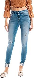 SALT TREE Kancan USA Women`s Stretchy Five Pocket Distressed High Waist Jeans - kc6192