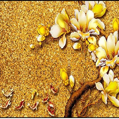 Ausgezeichnete Farbe Des Kundenspezifischen Großen Königlichen Palastes Des Freskos, Die Magnolie Fernsehhintergrund-Wandumwelttapete Schnitzt-250 * 175Cm