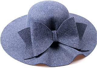 Wide Hat with Big Bowknot Women Australian Wool Fedora Hat Dome Felt Hat Bowler Hat England Fascinator Hat (Color : Blue, Size : 56-58CM)