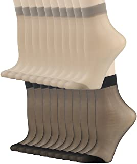 INCHER Ankle Sheer Socks for Women, Winter Silky Short Stockings High Tights Office Hose Crystal Nylon Socks, 4-20 Pairs