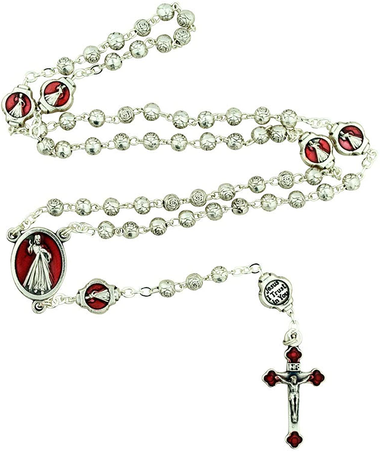 Divine Mercy pinkry with Red Enamel and Decorative Case