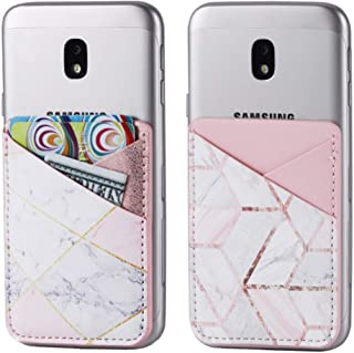 2Pack PU Leather Phone Pocket,Cell Phone Stick On Card Wallet,Credit Cards/ID Card Holder(Double Secure) with 3M Sticker for Back of iPhone,Android and All Smartphones-Cubic Marble